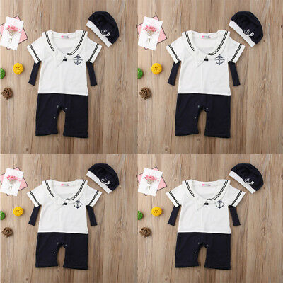 2018 Baby Boys Summer Fashion Navy Rompers And Hat Newborn Lovely Outfits