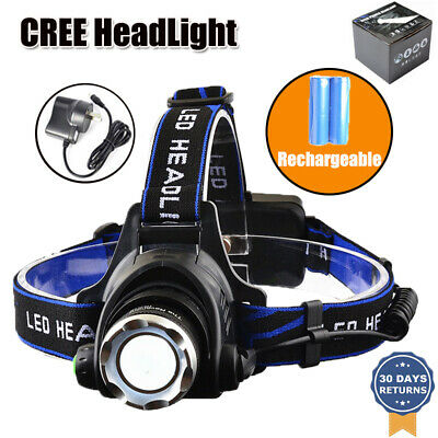 Outdoor 35000LM LED Headlamp Rechargeable Headlight CREE XML T6 Torch Camping AU