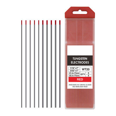 """10x Boxed TIG Welding Tungsten Electrode 2% Thoriated Red WT20 1/16""""-3/32"""" 10-pk"""