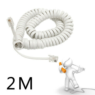 1pc Coiled / Telephone Handset Cable RJ10 Phone Lead Extension Curly Cord Wire