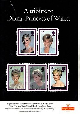 1998 A Tribute To Princess Diana Royal Mail Promo Poster From Collection 1B/8