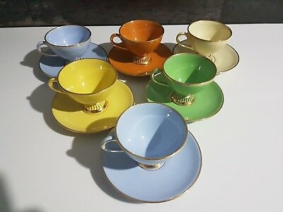 Vintage Italian Fiorentine Cups And Saucers