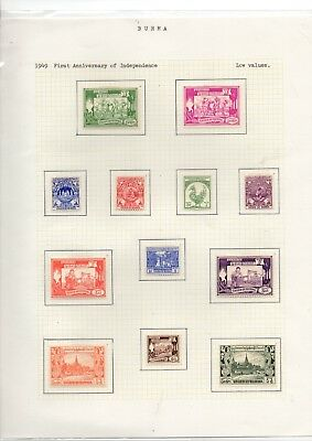 1939/49 Burma Mint Stamp Sets On Page From Collection Rf3