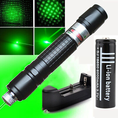 Powerful 50Miles 1mw Lazer Laser Pointers Beam Zoom Focus+18650 Battery+Charger
