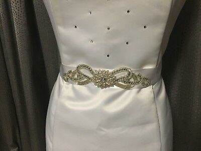 White Bridal Bride Debutante Sash Or Belt New