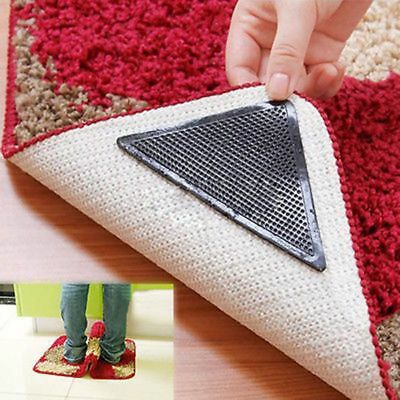 4 Set Safety Reusable Rug Carpet Mat Grippers Anti Slip Silicone Grip Skid Tape
