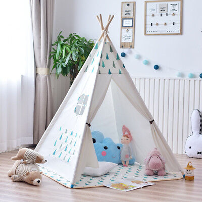 Cute Playhouse with Mat Teepee Tent 100% Cotton Canvas Children Boys Girls Gift