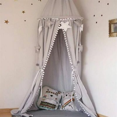 Crib Baby Bed Pompoms Canopy Round Dome Hanging Valance Kids Curtain Room Decor