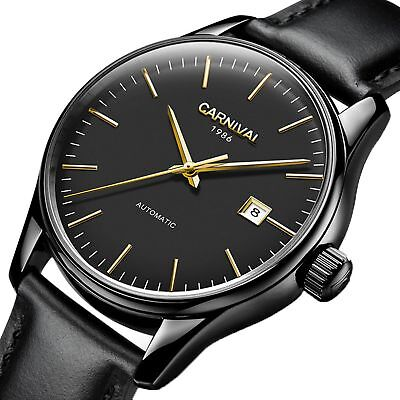 4afca5f0c1c PASOY Mens Automatic Watch Stainless Steel Case Date Sapphire Crystal  Leather Ba