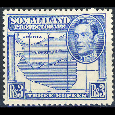 SOMALILAND 1938 R3 Bright Blue. Map. SG 103. Lightly Hinged Mint. (AT378)