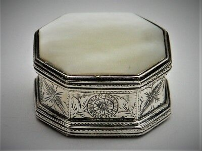 Pillendose 925er Sterling Silber Perlmutt Mother of Pearl Pillbox England (BN)
