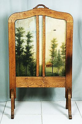 Spät Biedermeier  Kaminschirm Paravent Fire Screen Black Forest Gemälde