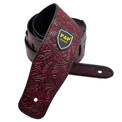 P&P PU Leather Strap for Electric Acoustic Guitar Embossed Adjustable Red d V9K4