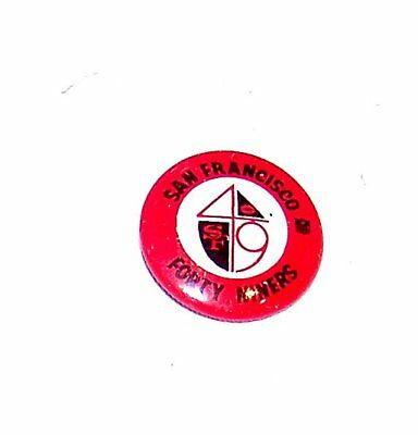 """Vintage 60s San Francisco 49ers NFL Football Pin Button 1"""" Ex Tickets Giants Ofr"""