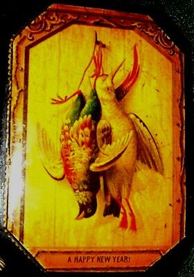"""Victorian Game Birds """"a Happy New Year"""": Mauchline Chadwick Reel Box 4 Inside"""