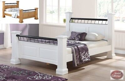 Hunter Solid Wooden 4 Poster Bed Frame In Oak White Finish Various Sizes