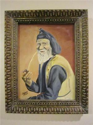 Vintage Oil Painting Sea Captain / Old Man w/ Pipe Signed Emogene Selsor 16x20