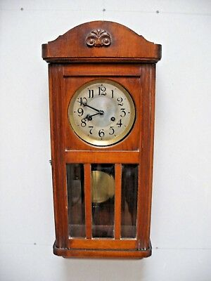 Antique Wall Clock Phs - Haas And Sohne Chimes On Hour And Half Vgc