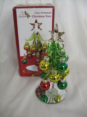 Vintage Tis The Season Christmas Tree With Glass Ornaments In Original Box