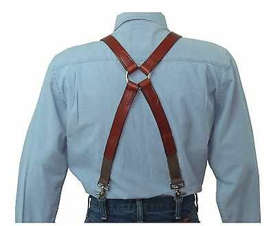 Brown Leather Suspenders Silver Ring X Back with scissor snaps