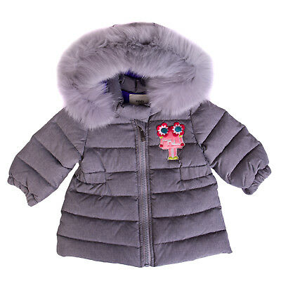 FENDI ROMA Down Quilted Coat Size 3M Fur Trim Robot Patch Hooded Made in Italy