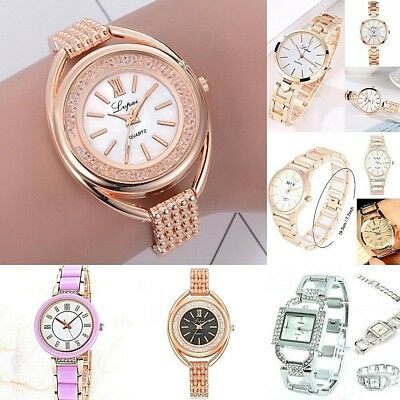 Ladies Women Mid-Large Dress or casual Wrist watch Steel band Case Analog Quartz
