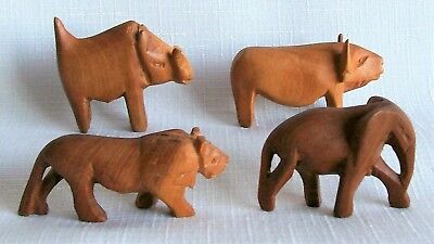 "Vintage Animal Figurines Hand Carved Wood Miniatures 1.5"" tall, Set of 4"
