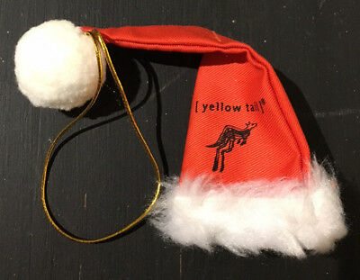 Yellow Tail Christmas Holiday Red Santa Hat Wine Topper Ornament Decoration NEW