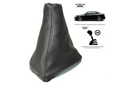 Black Stitch Fits Saab 93 9-3 Ss 2003+ Gear Gaiter Black Genuine Leather