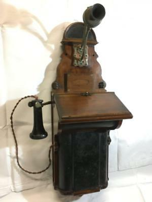 Antique Telephone Fiddle Back Hand Crank Wooden Wall Phone with Writing Slope