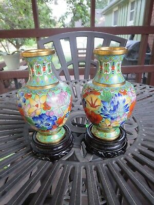 Vintage Pair of Blue Chinese Cloisonne Flower Vases with Original Stands
