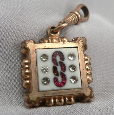 Antique Victorian ODD FELLOWS Agate & Glass Rhinestone Watch Fob Pendant GF/RGP