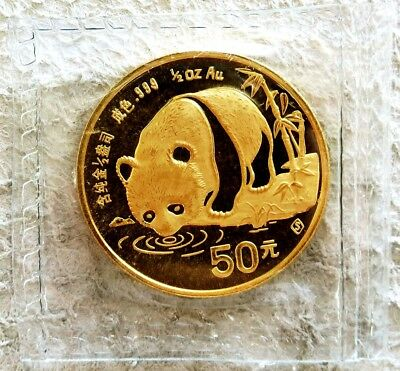 1987 S GOLD CHINA 1/2 oz 50 YUAN PANDA COIN CONDITION SEALED MINT STATE