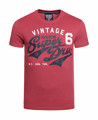 New Mens Superdry Stacker T-Shirt Sunset Red Marl