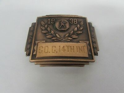Pre-WWII US Army 1938 boxing bronze belt buckle award, Company G, 14th infantry.
