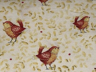 Fabric Birds Red On the Road on Cream Cotton by the 1/4 yard