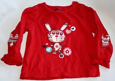 TU girls red long sleeve top - age 12 - 18 months