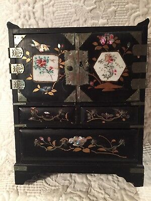 """Beautiful Antique Chinese Painted Inlaid Jewelry Trinket Armoire Box 8 3/4""""Tall"""