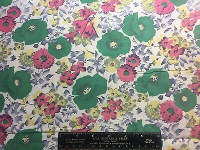 Vintage Cotton Fabric 30s40s PRETTY Pink Green & Yellow Floral 35w 1.9yds