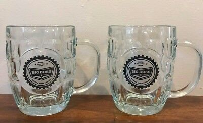 Set of Two Glass Dimple Mugs, Big Boss Brewing,  Beer Glasses