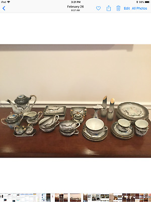 "Vintage Dragonware Moriage Tea Set with Lithophane of Geisha Girl ""38 pieces"""