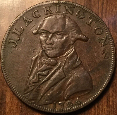 1794 Uk Gb Great Britain J. Lackington Half Penny Token