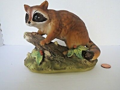 Home Interiors Masterpiece Series Porcelain Raccoon on log Figurine 1247 HOMCO