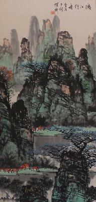 """Chinese Old Bai Xueshi Scroll Painting Scroll Landscape 75.98"""""""