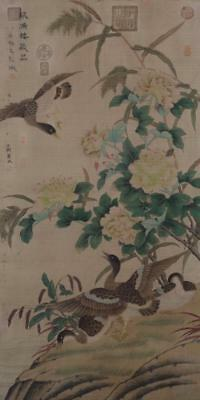 Chinese Old Wang Yuan Scroll Painting Scroll Flower&bird 81.5""