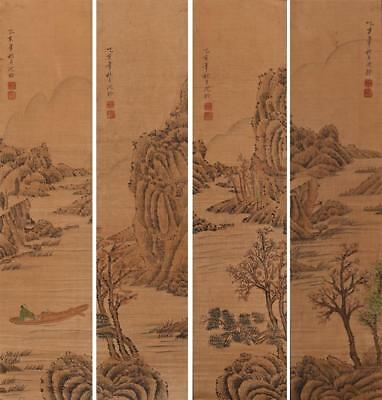 Four Chinese Old Shen Quan Scroll Painting Landscape 35.43""