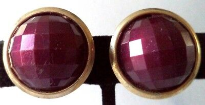 """Stunning Vintage Estate Purple Faceted Gold Tone 1"""" Clip Earrings!!! 5262X"""