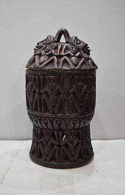 African Container Decorative Wood Bamum Cameroon