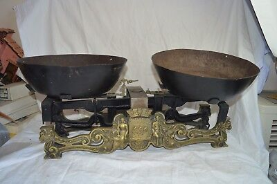 Antique French Cast Iron Brass Bronze Balance Scale Ornate Griffin Ship Figural