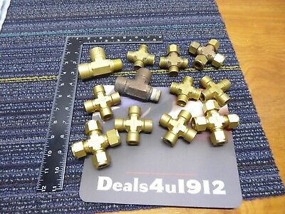 """LOT 12 Swagelok Brass Tube Fitting Union Cross 1/2"""" Tube and other fittings GUC!"""